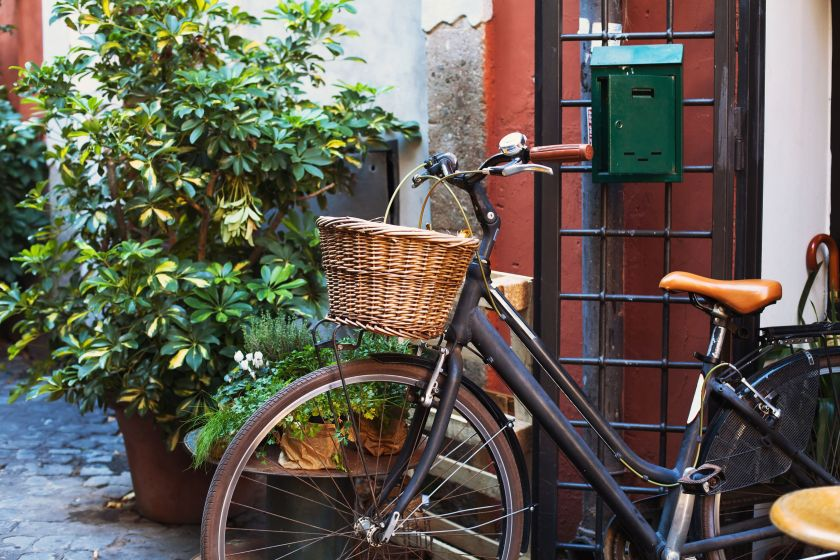 68668689 - bicycle on cozy street in europe